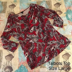 📦Talbots Paisley Red Cowl Neck 3/4 Sleeve Large